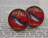 20mm Old Pals Salmon label glass tile cufflinks